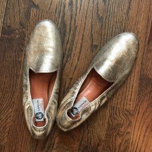 Lanvin Gold Slip-On Loafers